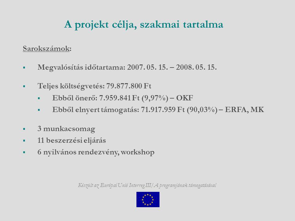 A projekt célja, szakmai tartalma Készült az Európai Unió Interreg III/A programjának támogatásával Sarokszámok:  Megvalósítás időtartama: 2007.