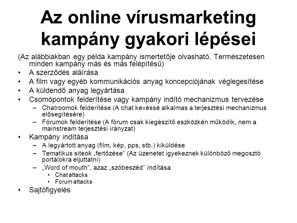 Az online vírusmarketing kampány gyakori lépései (Az alábbiakban egy példa kampány ismertetője olvasható. Természetesen minden kampány más és más felé