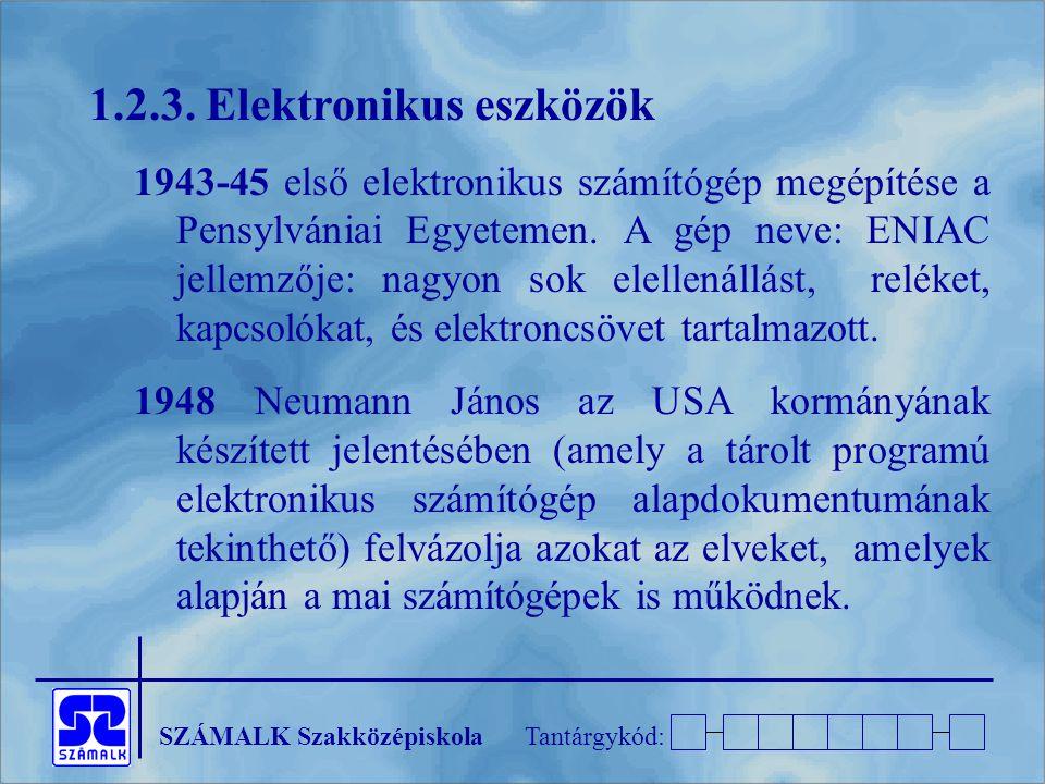 SZÁMALK SzakközépiskolaTantárgykód: 1.2.3. Elektronikus eszközök 1943-45 első elektronikus számítógép megépítése a Pensylvániai Egyetemen. A gép neve: