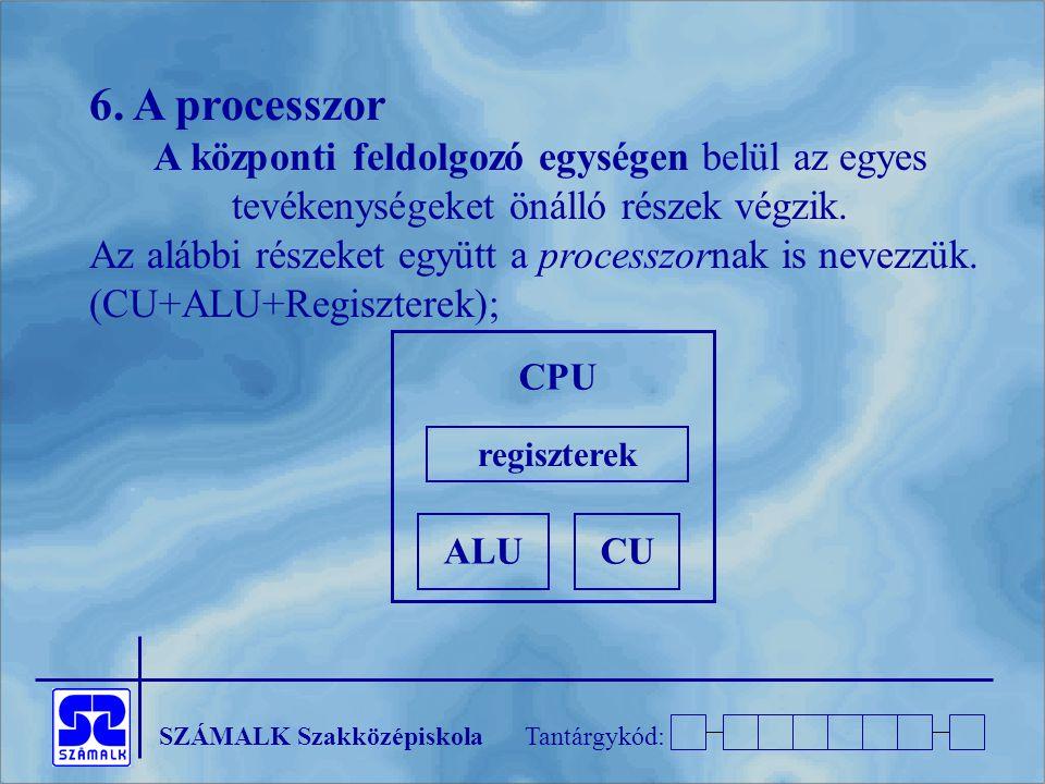 SZÁMALK SzakközépiskolaTantárgykód: 6. A processzor A központi feldolgozó egységen belül az egyes tevékenységeket önálló részek végzik. Az alábbi rész