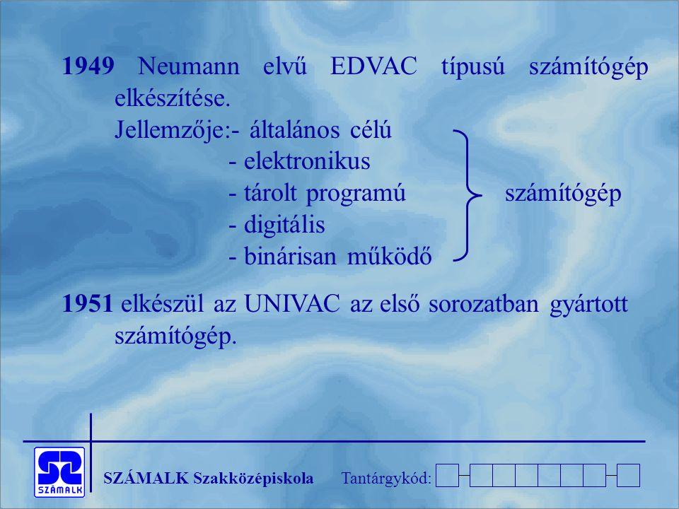 SZÁMALK SzakközépiskolaTantárgykód: 1949 Neumann elvű EDVAC típusú számítógép elkészítése.
