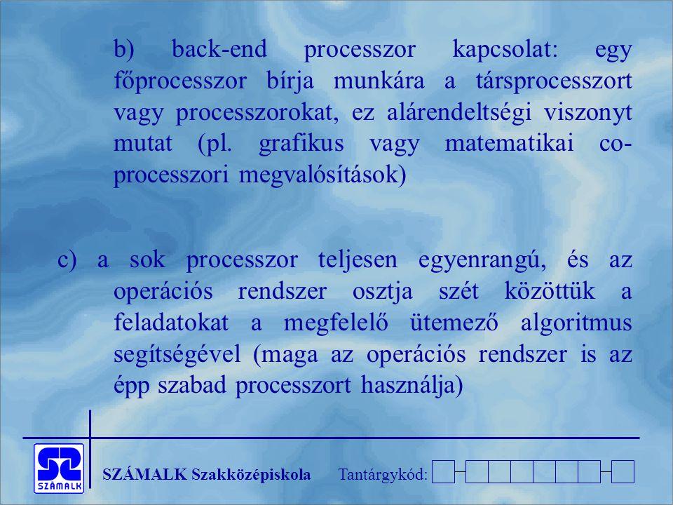 SZÁMALK SzakközépiskolaTantárgykód: b) back-end processzor kapcsolat: egy főprocesszor bírja munkára a társprocesszort vagy processzorokat, ez alárend
