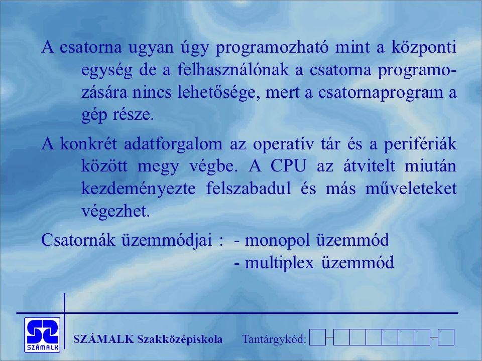 SZÁMALK SzakközépiskolaTantárgykód: A csatorna ugyan úgy programozható mint a központi egység de a felhasználónak a csatorna programo- zására nincs lehetősége, mert a csatornaprogram a gép része.