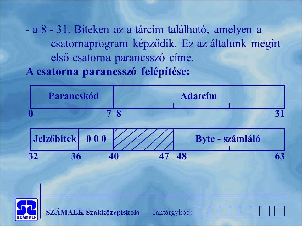 SZÁMALK SzakközépiskolaTantárgykód: - a 8 - 31. Biteken az a tárcím található, amelyen a csatornaprogram képződik. Ez az általunk megírt első csatorna
