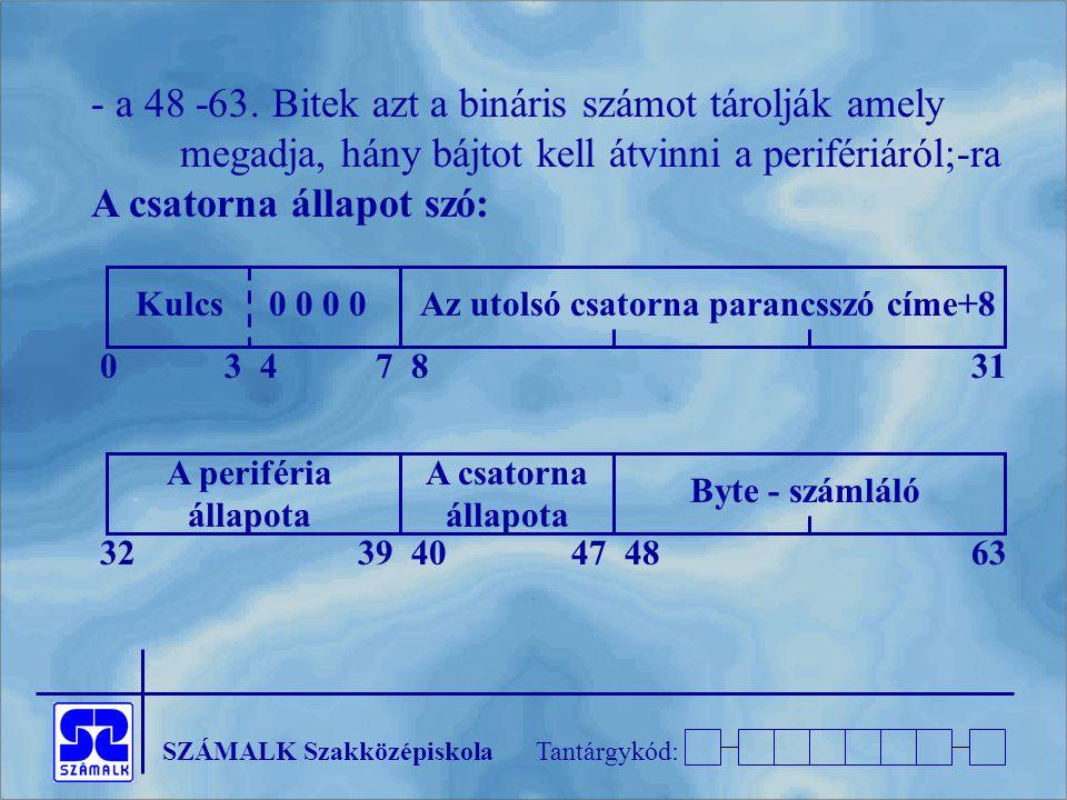 SZÁMALK SzakközépiskolaTantárgykód: - a 48 -63. Bitek azt a bináris számot tárolják amely megadja, hány bájtot kell átvinni a perifériáról;-ra A csato