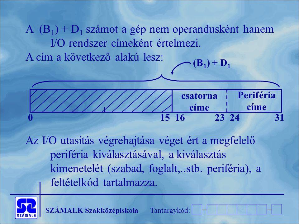 SZÁMALK SzakközépiskolaTantárgykód: A (B 1 ) + D 1 számot a gép nem operandusként hanem I/O rendszer címeként értelmezi. A cím a következő alakú lesz: