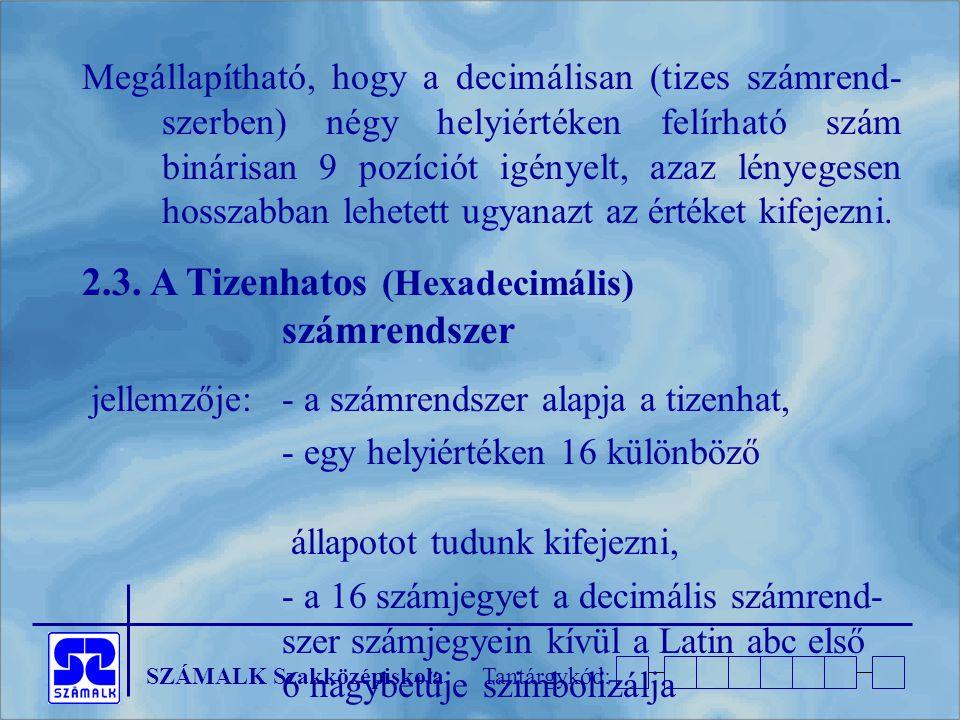 SZÁMALK SzakközépiskolaTantárgykód: Megállapítható, hogy a decimálisan (tizes számrend- szerben) négy helyiértéken felírható szám binárisan 9 pozíciót igényelt, azaz lényegesen hosszabban lehetett ugyanazt az értéket kifejezni.