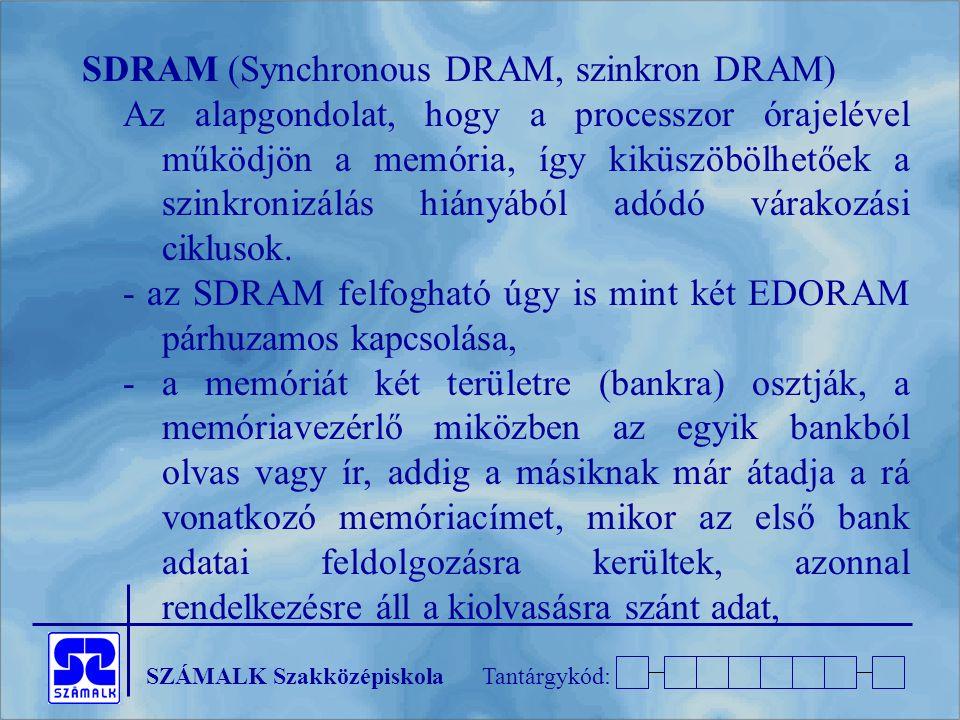 SZÁMALK SzakközépiskolaTantárgykód: SDRAM (Synchronous DRAM, szinkron DRAM) Az alapgondolat, hogy a processzor órajelével működjön a memória, így kikü