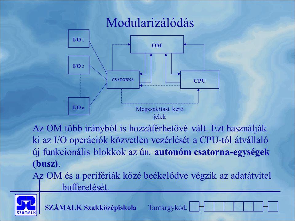 SZÁMALK SzakközépiskolaTantárgykód: OM CSATORNA CPU I/O 1 I/O 2 I/O n Megszakítást kérő jelek Modularizálódás Az OM több irányból is hozzáférhetővé vált.