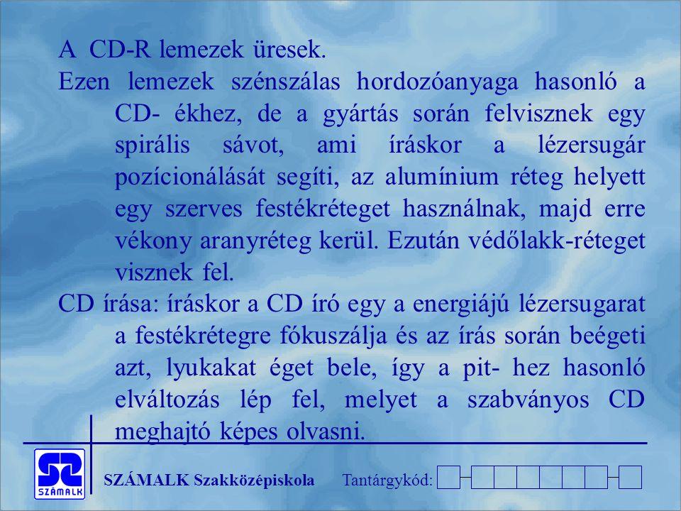 SZÁMALK SzakközépiskolaTantárgykód: A CD-R lemezek üresek. Ezen lemezek szénszálas hordozóanyaga hasonló a CD- ékhez, de a gyártás során felvisznek eg