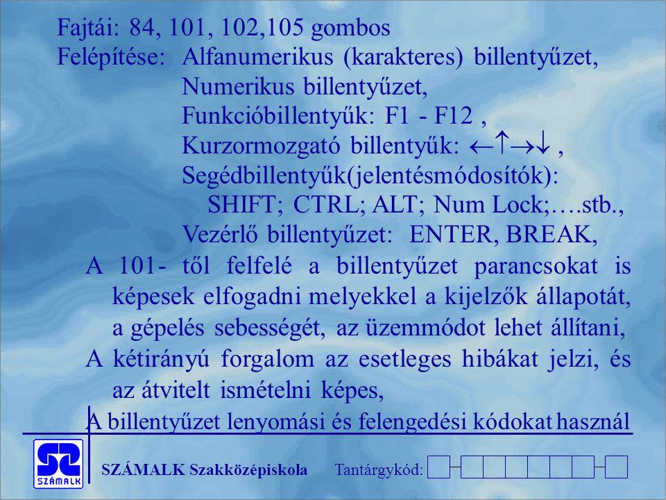 SZÁMALK SzakközépiskolaTantárgykód: Fajtái: 84, 101, 102,105 gombos Felépítése: Alfanumerikus (karakteres) billentyűzet, Numerikus billentyűzet, Funkc