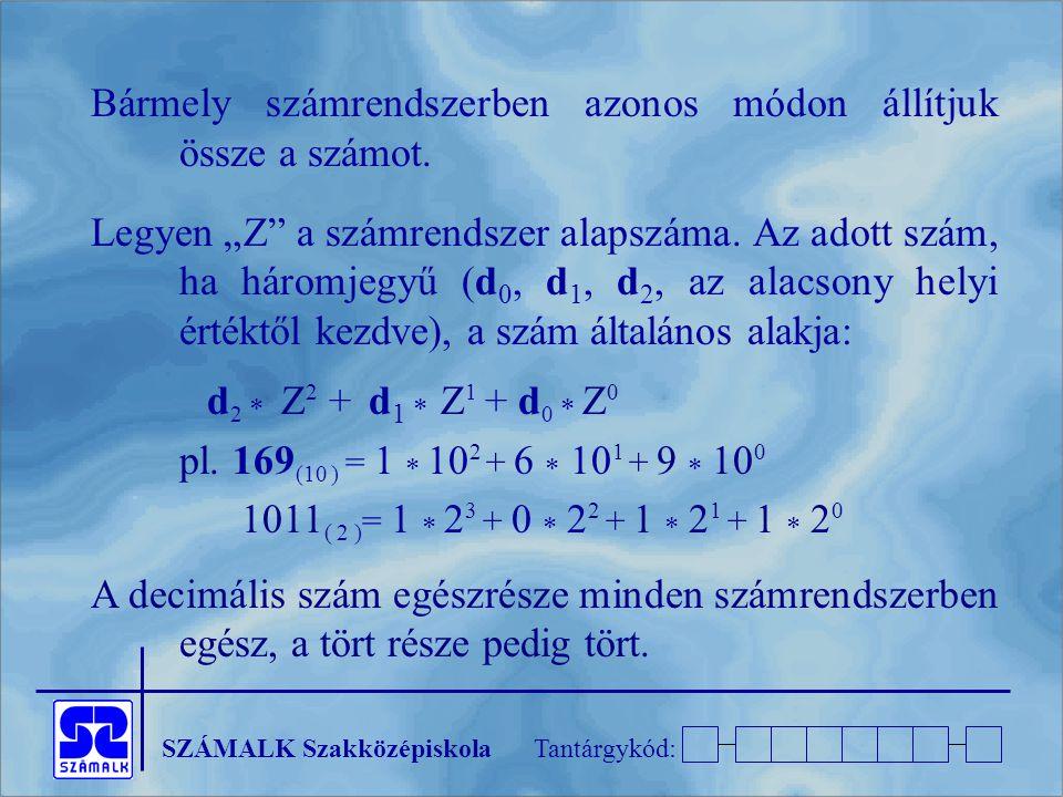 """SZÁMALK SzakközépiskolaTantárgykód: Bármely számrendszerben azonos módon állítjuk össze a számot. Legyen """"Z"""" a számrendszer alapszáma. Az adott szám,"""