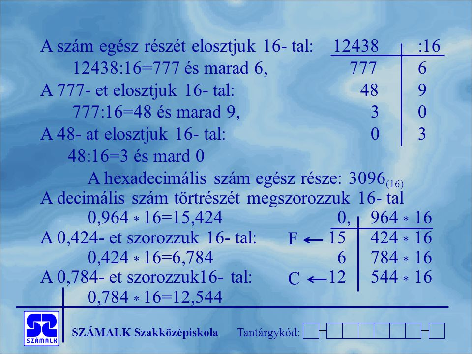 SZÁMALK SzakközépiskolaTantárgykód: A szám egész részét elosztjuk 16- tal: 12438:16 12438:16=777 és marad 6, 7776 A 777- et elosztjuk 16- tal: 489 777:16=48 és marad 9,30 A 48- at elosztjuk 16- tal:03 48:16=3 és mard 0 A hexadecimális szám egész része: 3096 (16) A decimális szám törtrészét megszorozzuk 16- tal 0,964  16=15,424 0,964  16 A 0,424- et szorozzuk 16- tal: 15424  16 0,424  16=6,784 6784  16 A 0,784- et szorozzuk16- tal: 12544  16 0,784  16=12,544 F C