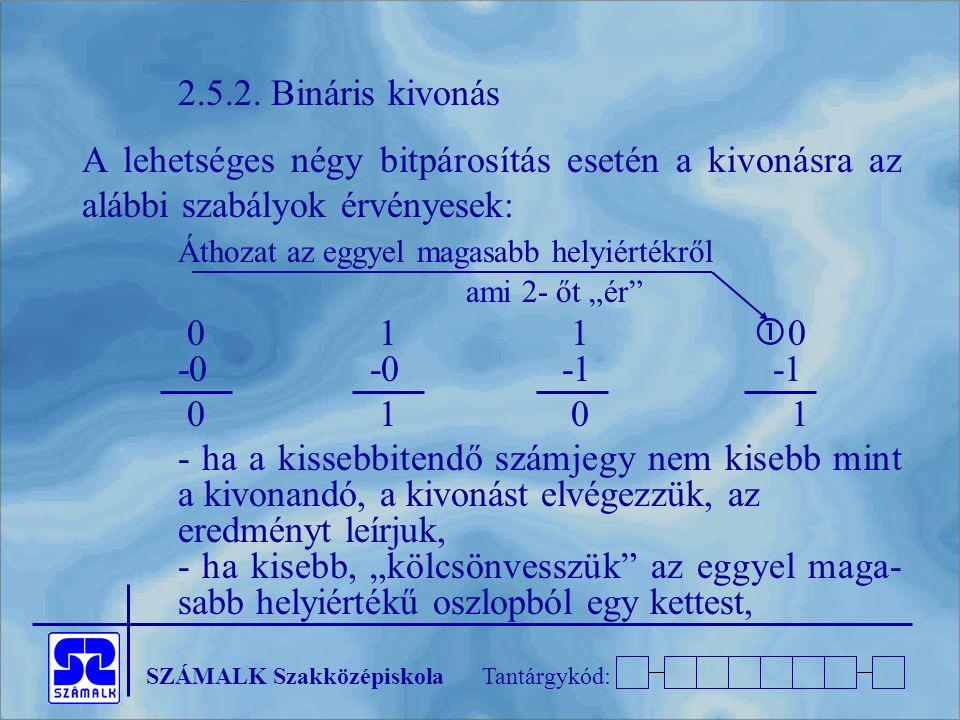 SZÁMALK SzakközépiskolaTantárgykód: 2.5.2. Bináris kivonás A lehetséges négy bitpárosítás esetén a kivonásra az alábbi szabályok érvényesek: Áthozat a