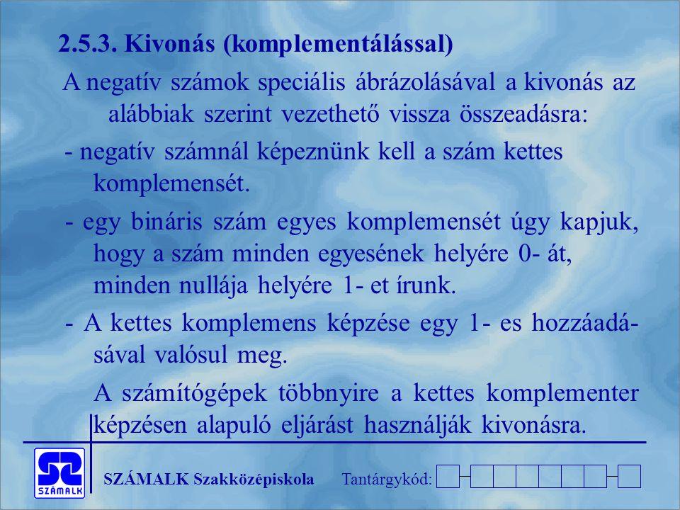 SZÁMALK SzakközépiskolaTantárgykód: 2.5.3.