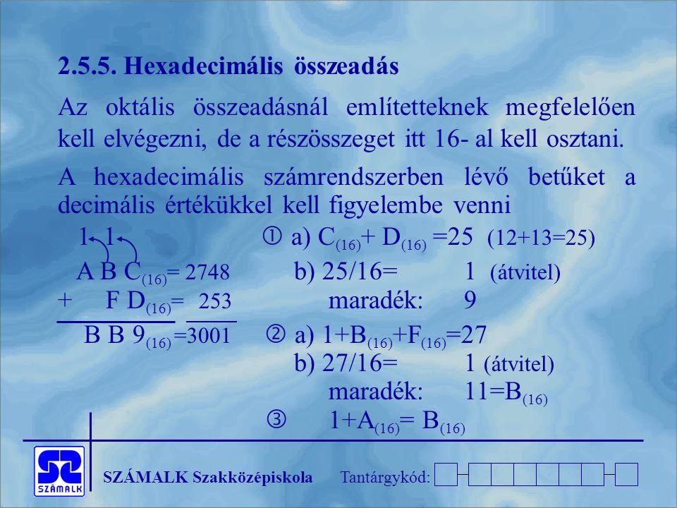 SZÁMALK SzakközépiskolaTantárgykód: 2.5.5. Hexadecimális összeadás Az oktális összeadásnál említetteknek megfelelően kell elvégezni, de a részösszeget