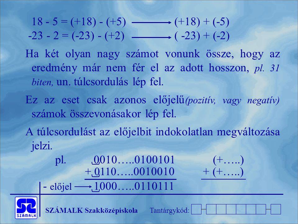 SZÁMALK SzakközépiskolaTantárgykód: 18 - 5 = (+18) - (+5)(+18) + (-5) -23 - 2 = (-23) - (+2)( -23) + (-2) Ha két olyan nagy számot vonunk össze, hogy az eredmény már nem fér el az adott hosszon, pl.
