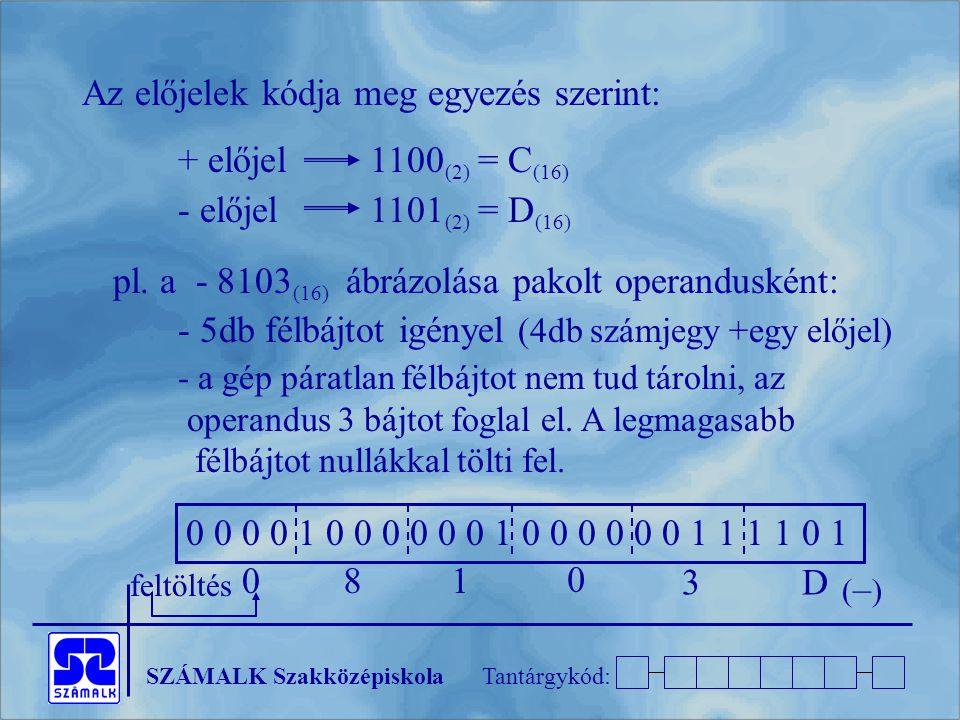 SZÁMALK SzakközépiskolaTantárgykód: Az előjelek kódja meg egyezés szerint: + előjel1100 (2) = C (16) - előjel1101 (2) = D (16) pl. a - 8103 (16) ábráz