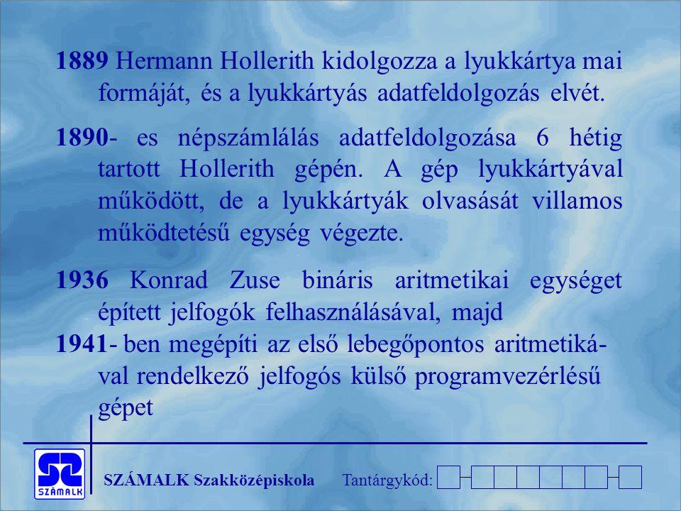 SZÁMALK SzakközépiskolaTantárgykód: 1889 Hermann Hollerith kidolgozza a lyukkártya mai formáját, és a lyukkártyás adatfeldolgozás elvét.