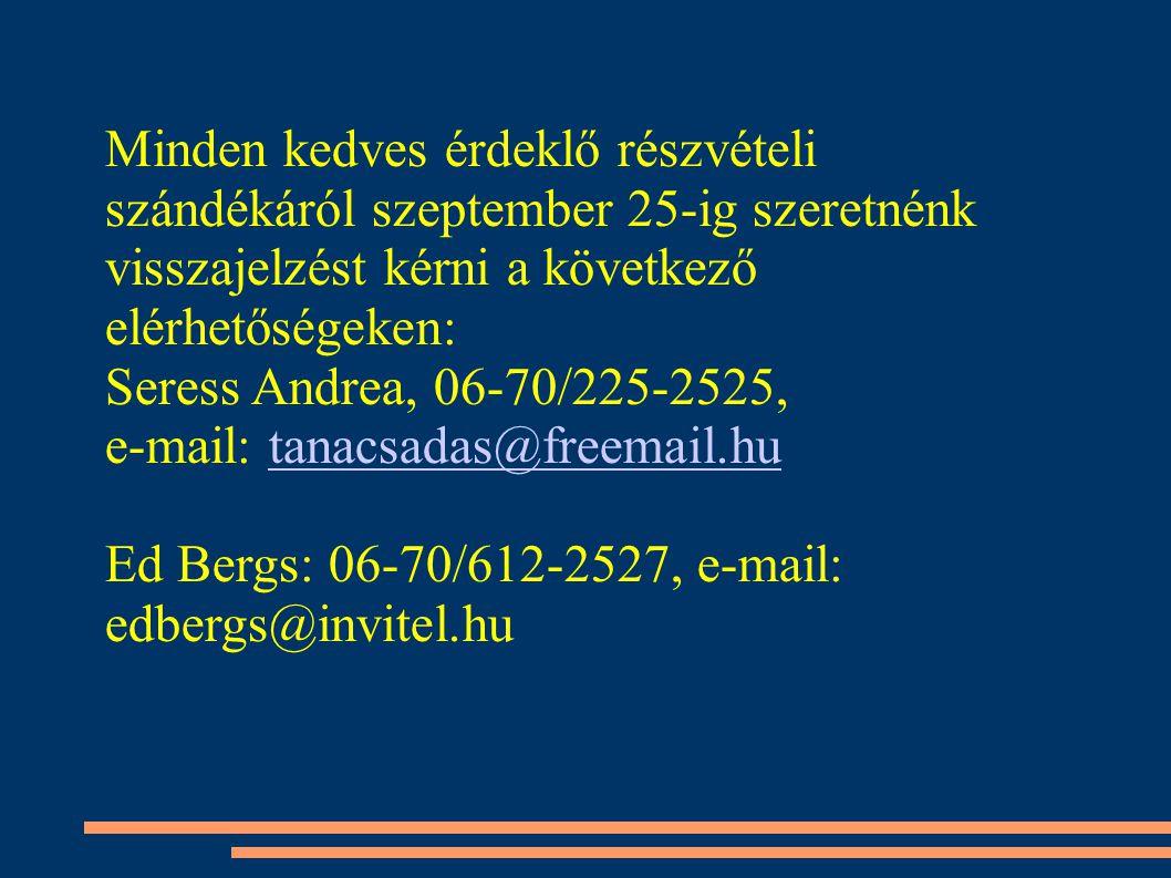 Minden kedves érdeklő részvételi szándékáról szeptember 25-ig szeretnénk visszajelzést kérni a következő elérhetőségeken: Seress Andrea, 06-70/225-2525, e-mail: tanacsadas@freemail.hutanacsadas@freemail.hu Ed Bergs: 06-70/612-2527, e-mail: edbergs@invitel.hu