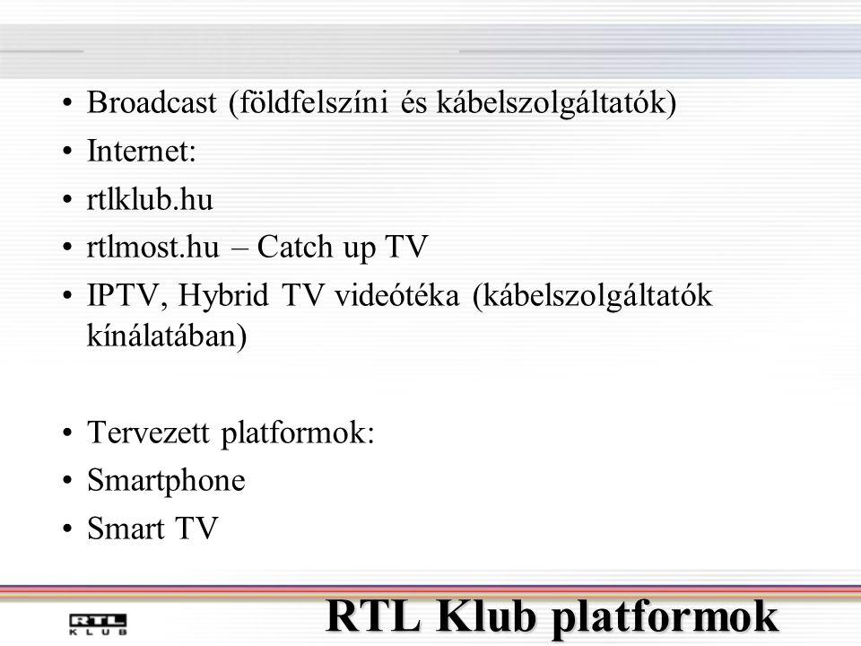 RTL Klub platformok •Broadcast (földfelszíni és kábelszolgáltatók) •Internet: •rtlklub.hu •rtlmost.hu – Catch up TV •IPTV, Hybrid TV videótéka (kábelszolgáltatók kínálatában) •Tervezett platformok: •Smartphone •Smart TV