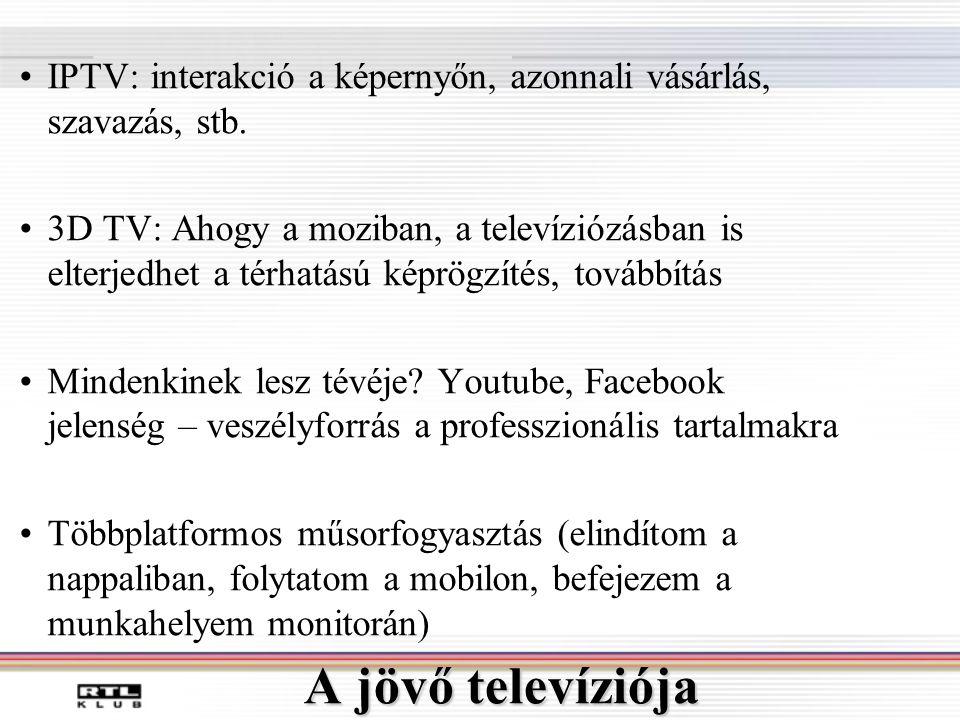 A jövő televíziója •IPTV: interakció a képernyőn, azonnali vásárlás, szavazás, stb.