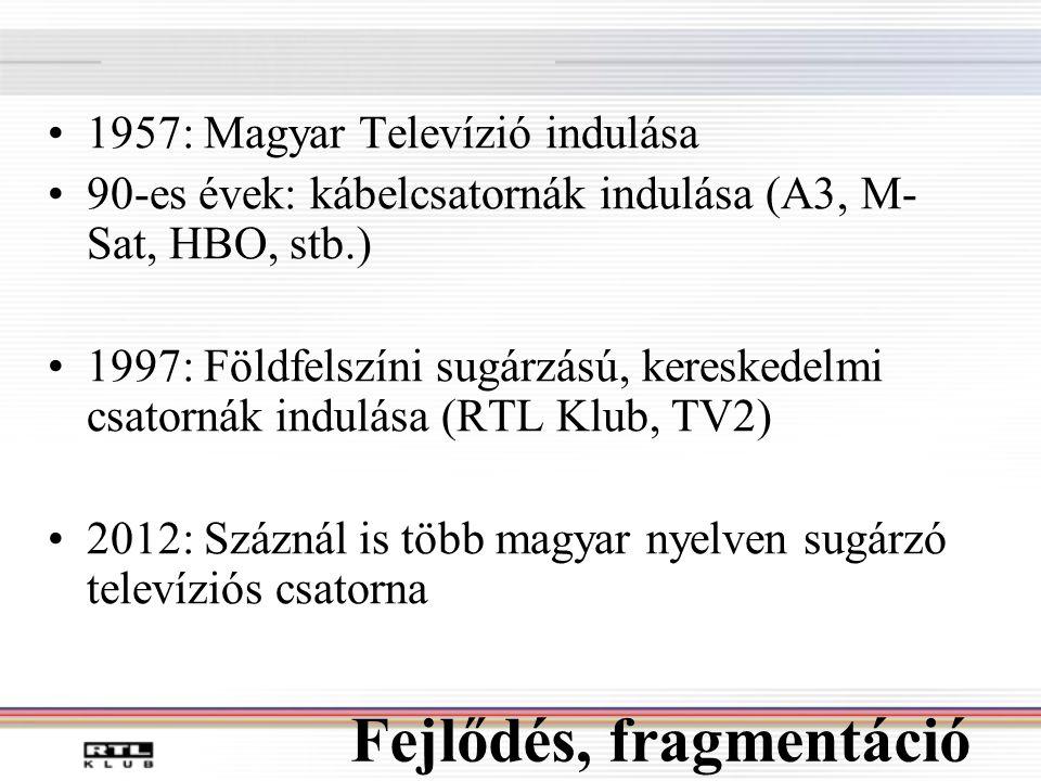 Fejlődés, fragmentáció •1957: Magyar Televízió indulása •90-es évek: kábelcsatornák indulása (A3, M- Sat, HBO, stb.) •1997: Földfelszíni sugárzású, kereskedelmi csatornák indulása (RTL Klub, TV2) •2012: Száznál is több magyar nyelven sugárzó televíziós csatorna