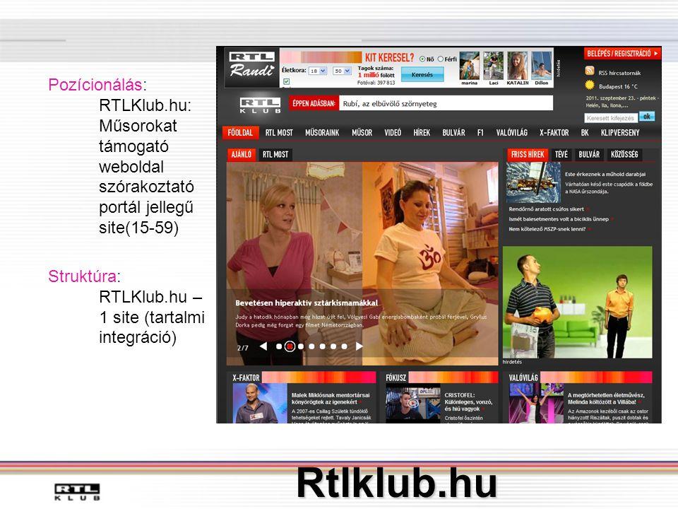 Rtlklub.hu Pozícionálás: RTLKlub.hu: Műsorokat támogató weboldal szórakoztató portál jellegű site(15-59) Struktúra: RTLKlub.hu – 1 site (tartalmi integráció)