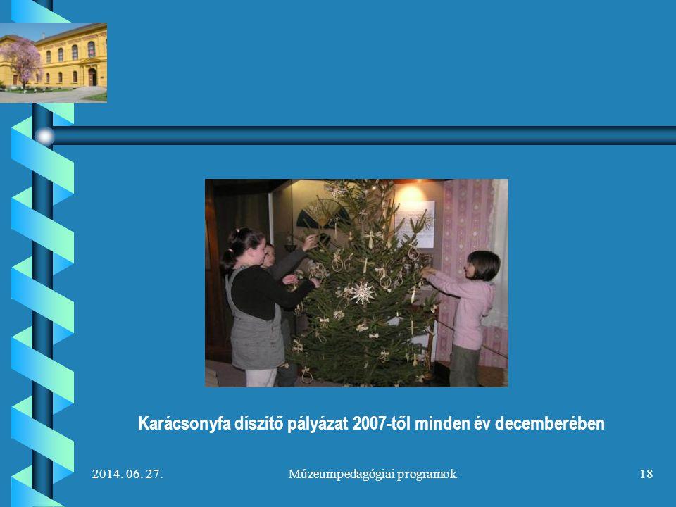 2014. 06. 27.Múzeumpedagógiai programok18 Karácsonyfa díszítő pályázat 2007-től minden év decemberében