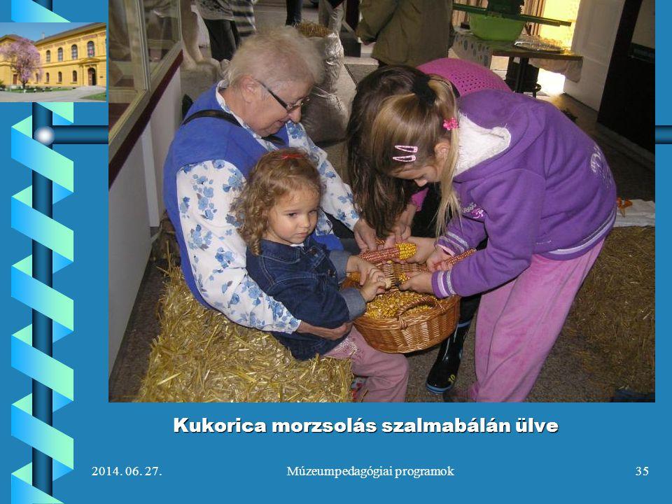 2014. 06. 27.Múzeumpedagógiai programok35 Kukorica morzsolás szalmabálán ülve