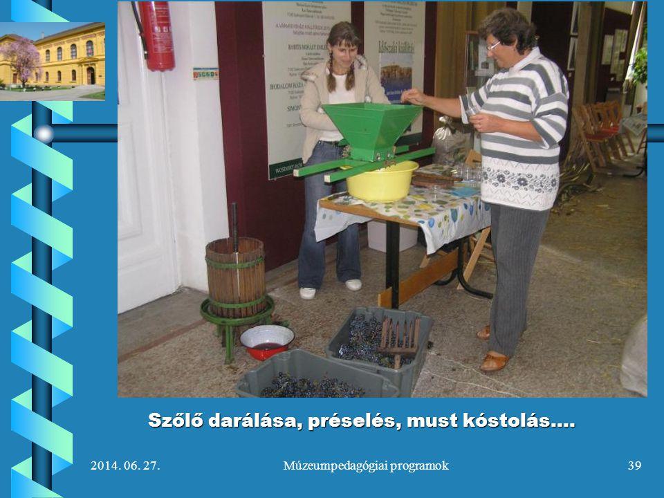 2014. 06. 27.Múzeumpedagógiai programok39 Szőlő darálása, préselés, must kóstolás….
