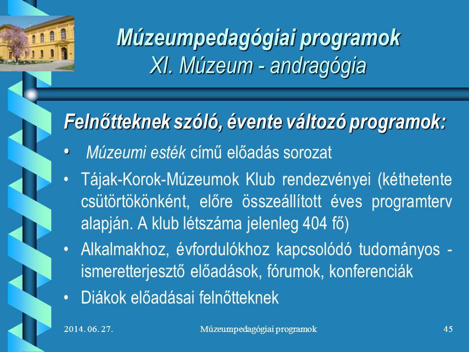 2014. 06. 27.Múzeumpedagógiai programok45 Múzeumpedagógiai programok XI. Múzeum - andragógia Felnőtteknek szóló, évente változó programok: • • Múzeumi