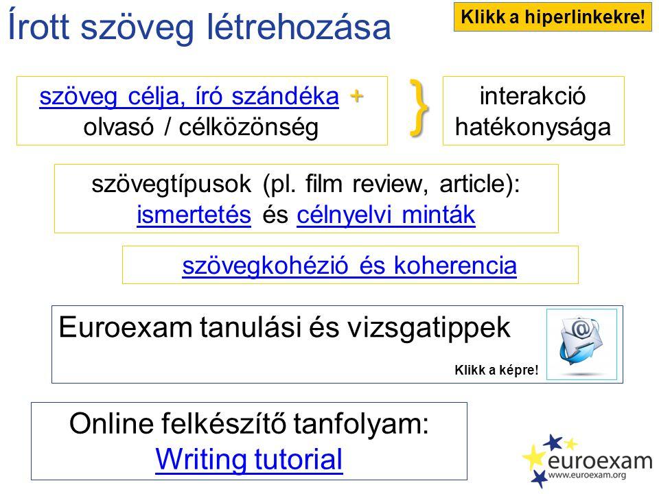 Írott szöveg létrehozása interakció hatékonysága szövegtípusok (pl.