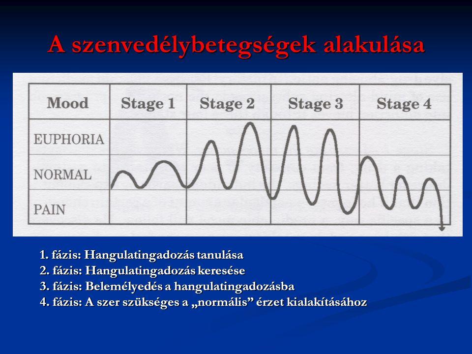 A szenvedélybetegségek alakulása 1. fázis: Hangulatingadozás tanulása 2. fázis: Hangulatingadozás keresése 3. fázis: Belemélyedés a hangulatingadozásb