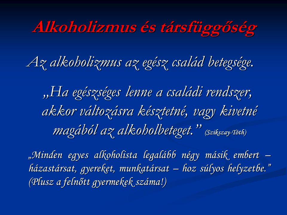 Alkoholizmus és társfüggőség Az alkoholizmus az egész család betegsége.