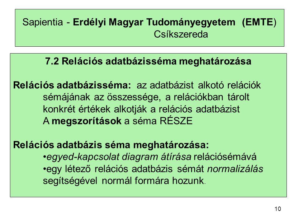 Sapientia - Erdélyi Magyar Tudományegyetem (EMTE) Csíkszereda 7.2 Relációs adatbázisséma meghatározása Relációs adatbázisséma: az adatbázist alkotó re