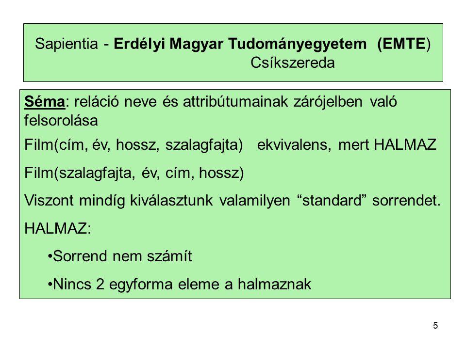 Sapientia - Erdélyi Magyar Tudományegyetem (EMTE) Csíkszereda Szabály: 1.
