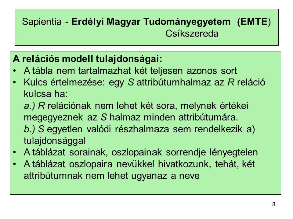 Sapientia - Erdélyi Magyar Tudományegyetem (EMTE) Csíkszereda A relációs modell tulajdonságai: •A tábla nem tartalmazhat két teljesen azonos sort •Kul