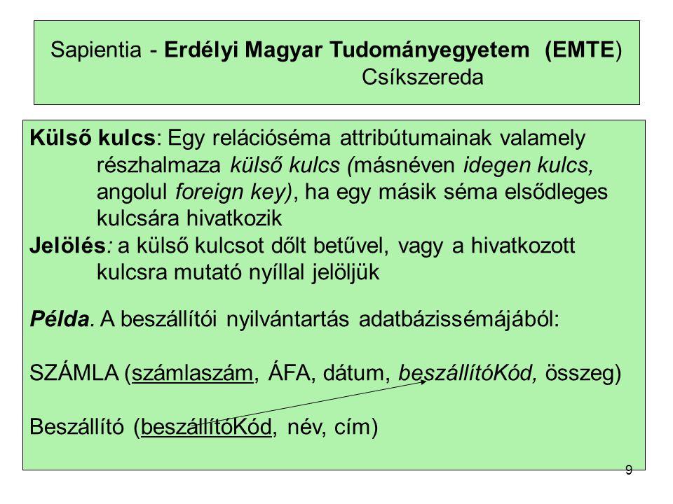 Sapientia - Erdélyi Magyar Tudományegyetem (EMTE) Csíkszereda Külső kulcs: Egy relációséma attribútumainak valamely részhalmaza külső kulcs (másnéven