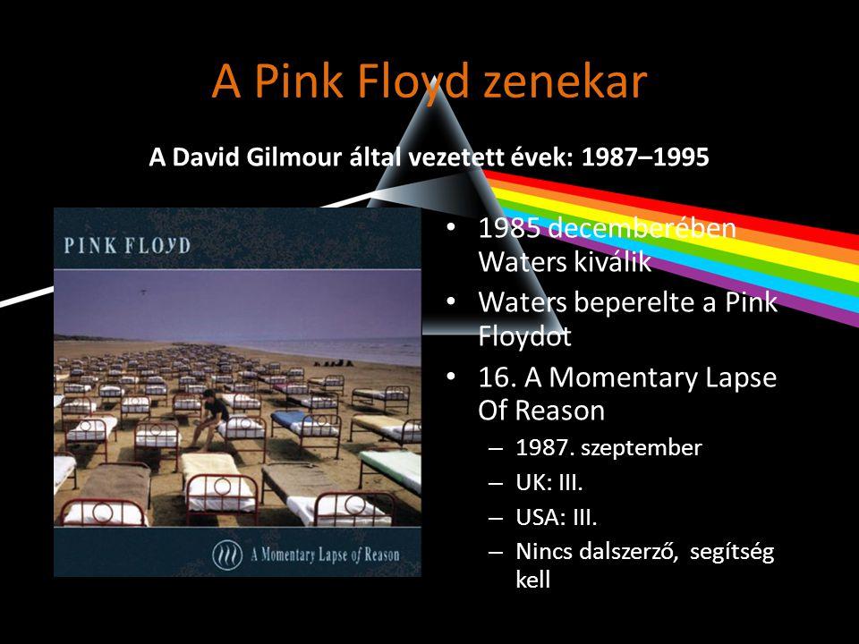 A Pink Floyd zenekar • 1985 decemberében Waters kiválik • Waters beperelte a Pink Floydot • 16. A Momentary Lapse Of Reason – 1987. szeptember – UK: I