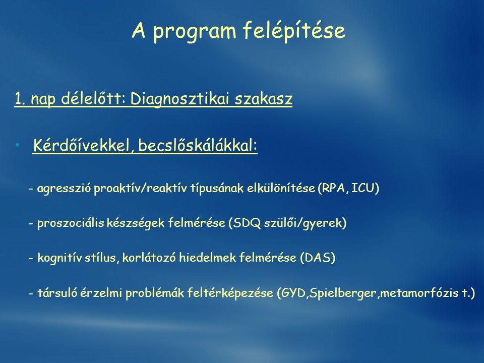 A program felépítése 1. nap délelőtt: Diagnosztikai szakasz •Kérdőívekkel, becslőskálákkal: - agresszió proaktív/reaktív típusának elkülönítése (RPA,