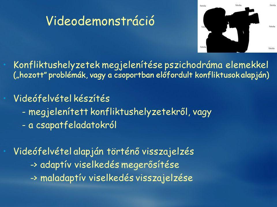 """Videodemonstráció •Konfliktushelyzetek megjelenítése pszichodráma elemekkel (""""hozott"""" problémák, vagy a csoportban előfordult konfliktusok alapján) •V"""