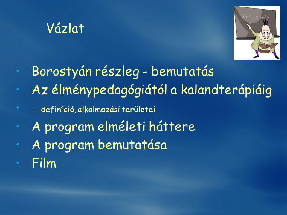 Vázlat •Borostyán részleg - bemutatás •Az élménypedagógiától a kalandterápiáig • - definíció, alkalmazási területei •A program elméleti háttere •A pro