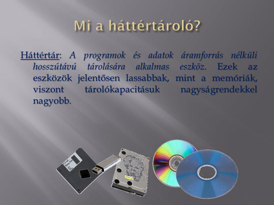  Papíralapú háttértárolók  Lyukkártya, lyukszalag  Mágneses alapú háttértárolók  Mágnesdob, Mágnesszalag  Winchester (Merevlemez)  Hajlékonylemez (Floppy)  Optikai adattárolók  CD, DVD, Blu-ray  Elektromos háttértárak  Pendrive  Memóriakártyák