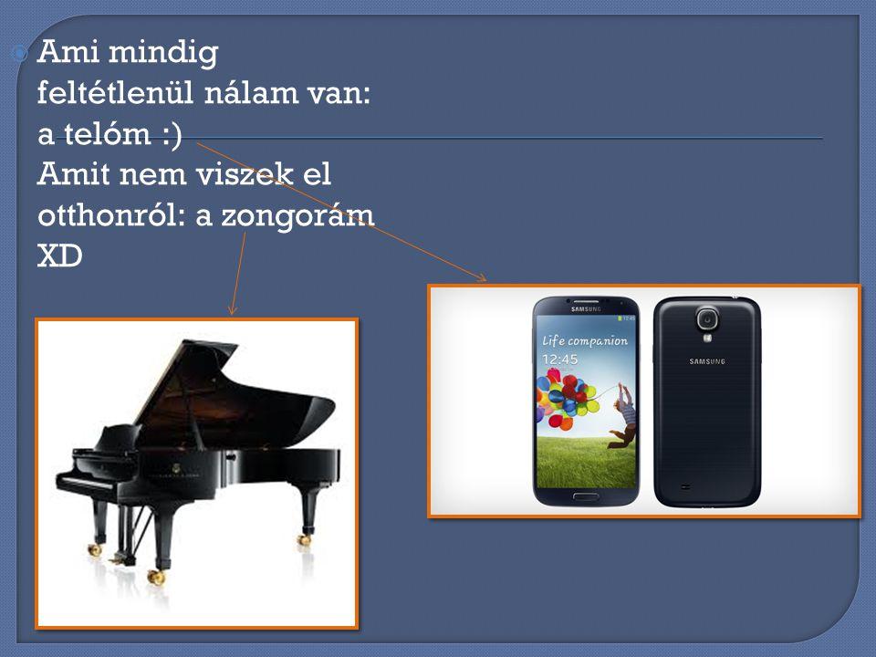 AAmi mindig feltétlenül nálam van: a telóm :) Amit nem viszek el otthonról: a zongorám XD