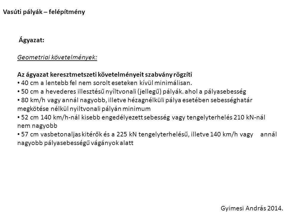 Vasúti pályák – felépítmény Ágyazat: Geometriai követelmények: • Túlérés az alj végétől: Gyimesi András 2014.