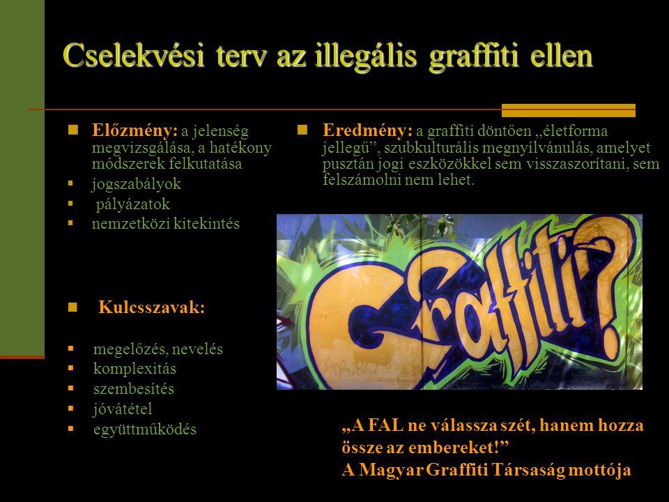 Cselekvési terv az illegális graffiti ellen  Előzmény: a jelenség megvizsgálása, a hatékony módszerek felkutatása  jogszabályok  pályázatok  nemze