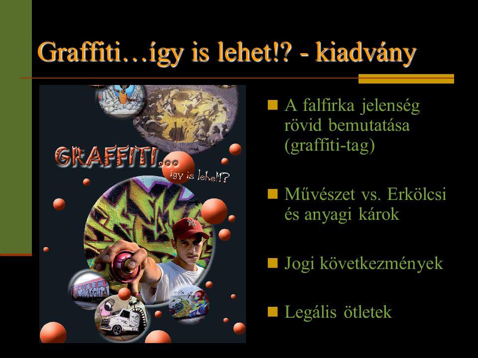 Graffiti…így is lehet!? - kiadvány  A falfirka jelenség rövid bemutatása (graffiti-tag)  Művészet vs. Erkölcsi és anyagi károk  Jogi következmények