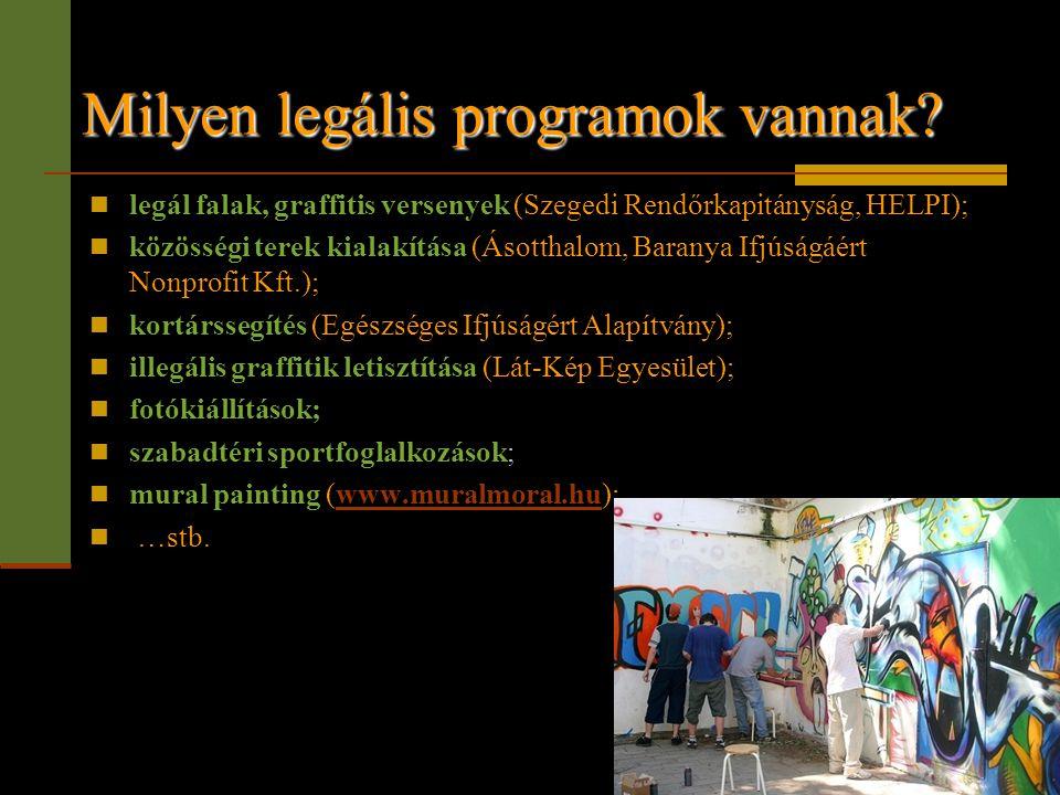 Milyen legális programok vannak?  legál falak, graffitis versenyek (Szegedi Rendőrkapitányság, HELPI);  közösségi terek kialakítása (Ásotthalom, Bar