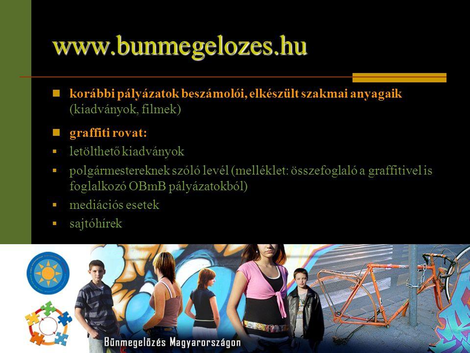 www.bunmegelozes.hu  korábbi pályázatok beszámolói, elkészült szakmai anyagaik (kiadványok, filmek)  graffiti rovat:  letölthető kiadványok  polgá